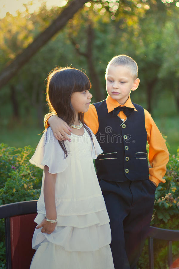 Download Portrait Of A Little Boy And Girl Couple Stock Image - Image: 26555693