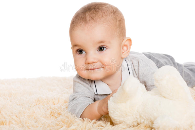 Portrait of a little boy looking away stock images