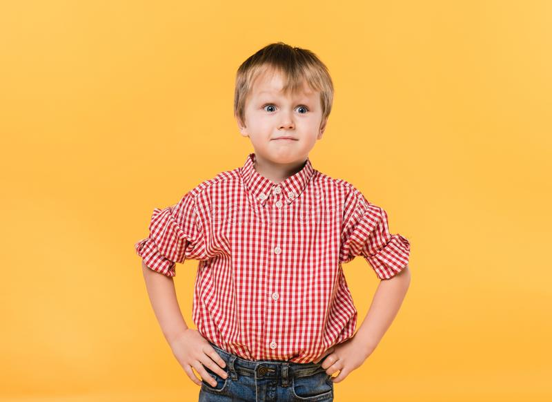 Portrait of little boy in shirt standing akimbo. Isolated on yellow royalty free stock images