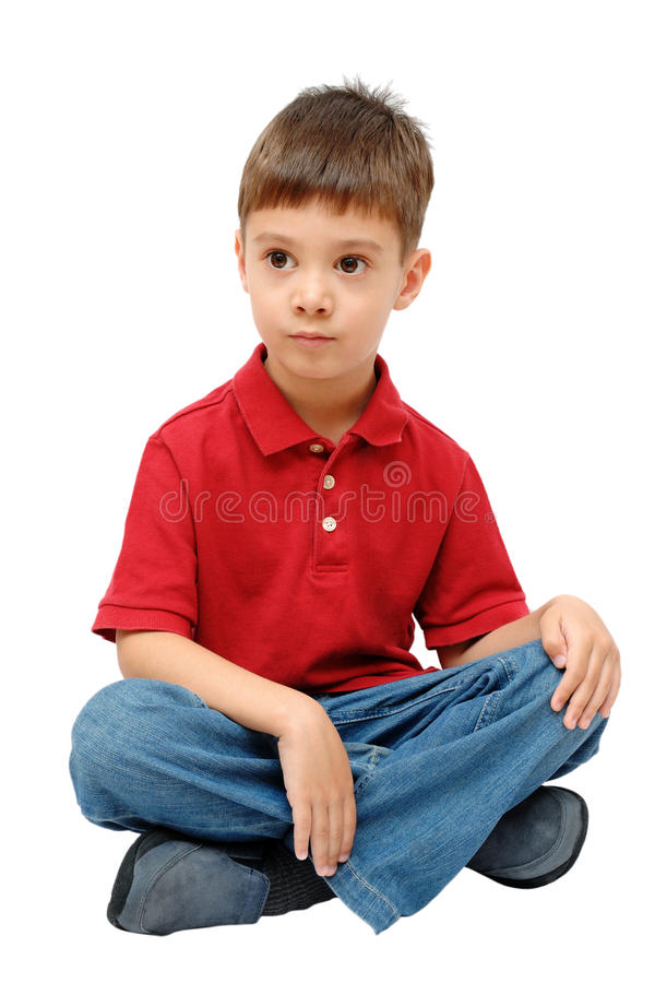 4 Year Boy Bedroom Decorating Ideas: Portrait Of Little Boy Sitting On Floor Stock Photo