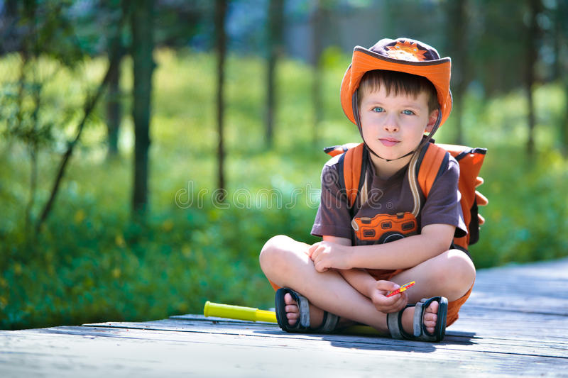 Portrait Of A Little Boy In Summer Forest Stock Image
