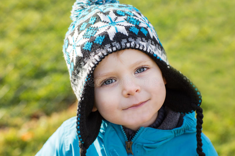 Portrait of little boy of two years outdoor stock image