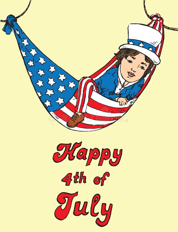 Portrait of little boy in Uncle Sam costume resting in hammock of the American flag, Happy 4th of July, card design. Drawn by hand illustration in pop art stock illustration