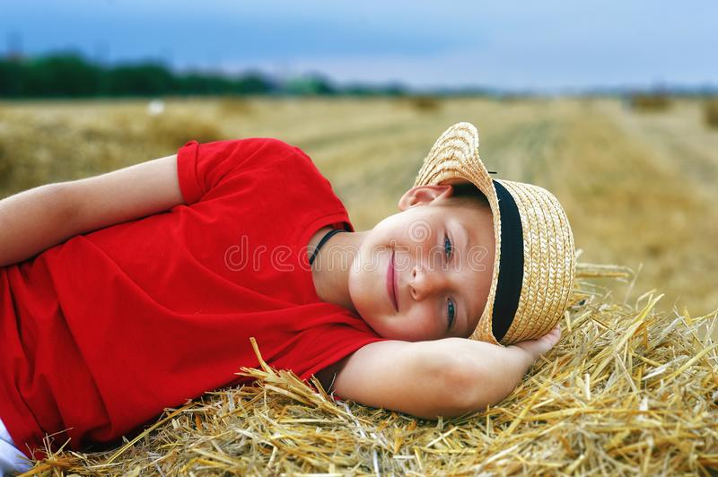Portrait of a little boy on vacation in the field . royalty free stock photos