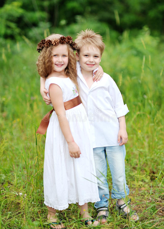 Portrait of little boys and girls stock image