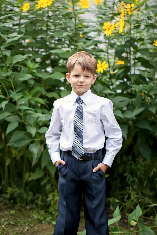 Portrait of little businessman on nature stock photography