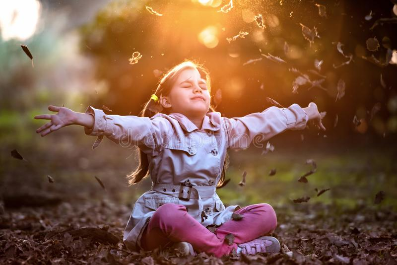 Portrait of Little Child Girl in Autumn Outdoors stock photography