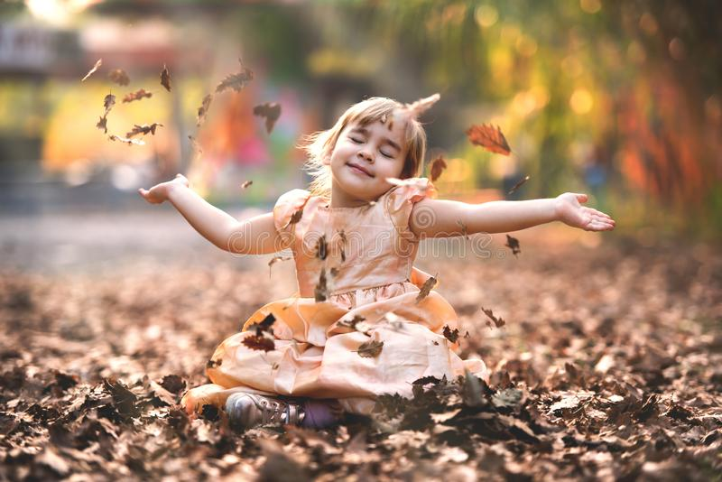 Portrait of Little Child Girl in Autumn in Nature royalty free stock photography