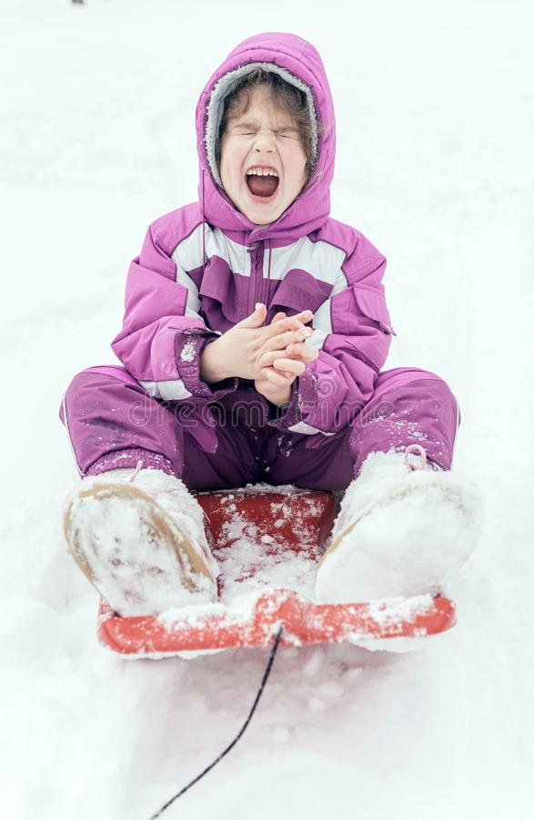 Portrait of the little child outdoor. Happy little girl sitting in a sleigh,selective focus royalty free stock images
