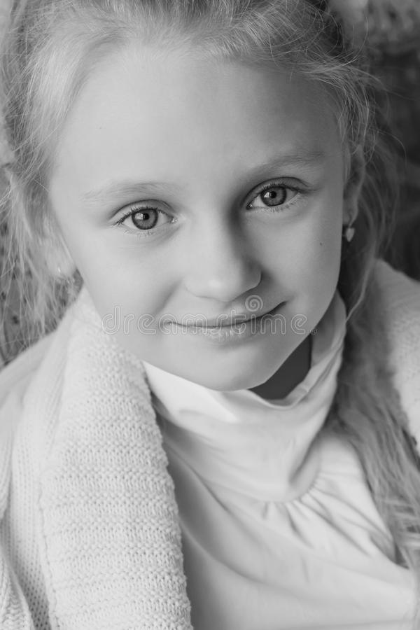 Portrait of a little cute girl stock images