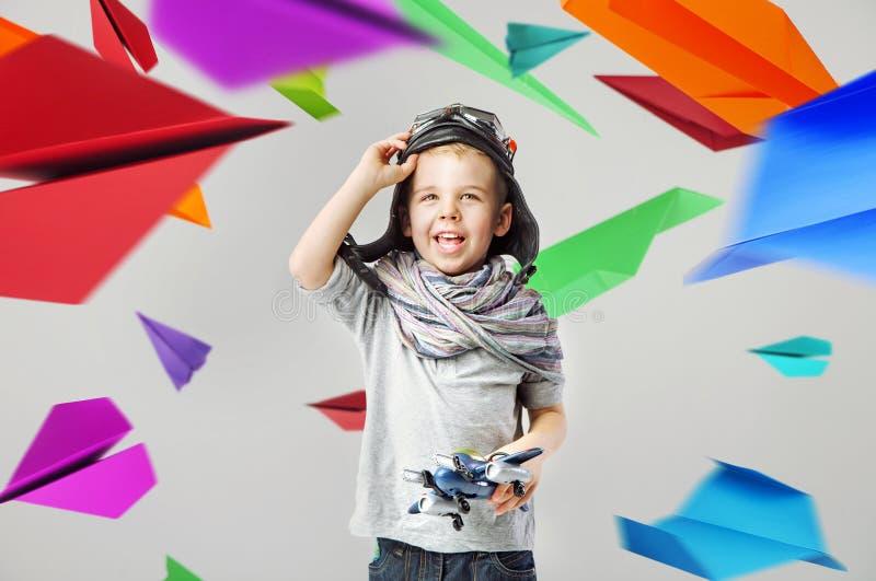 Portrait of little cute pilot royalty free stock photos