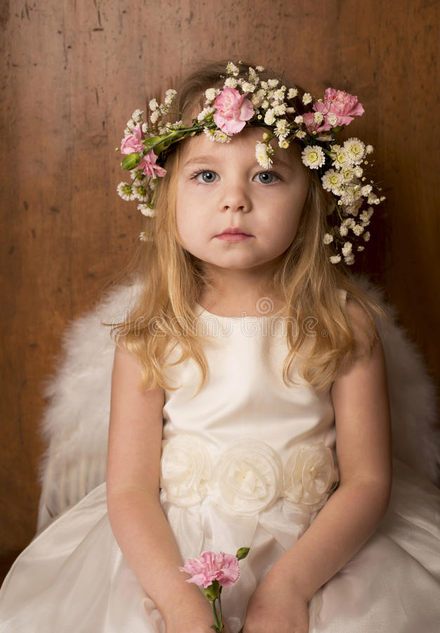 Portrait Of Little Girl With Angel Wings Royalty Free Stock Image
