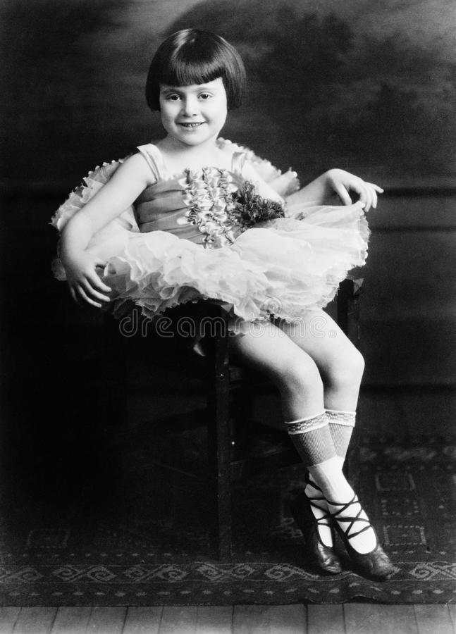 Portrait of little girl in ballet costume. (All persons depicted are no longer living and no estate exists. Supplier grants that there will be no model release royalty free stock image