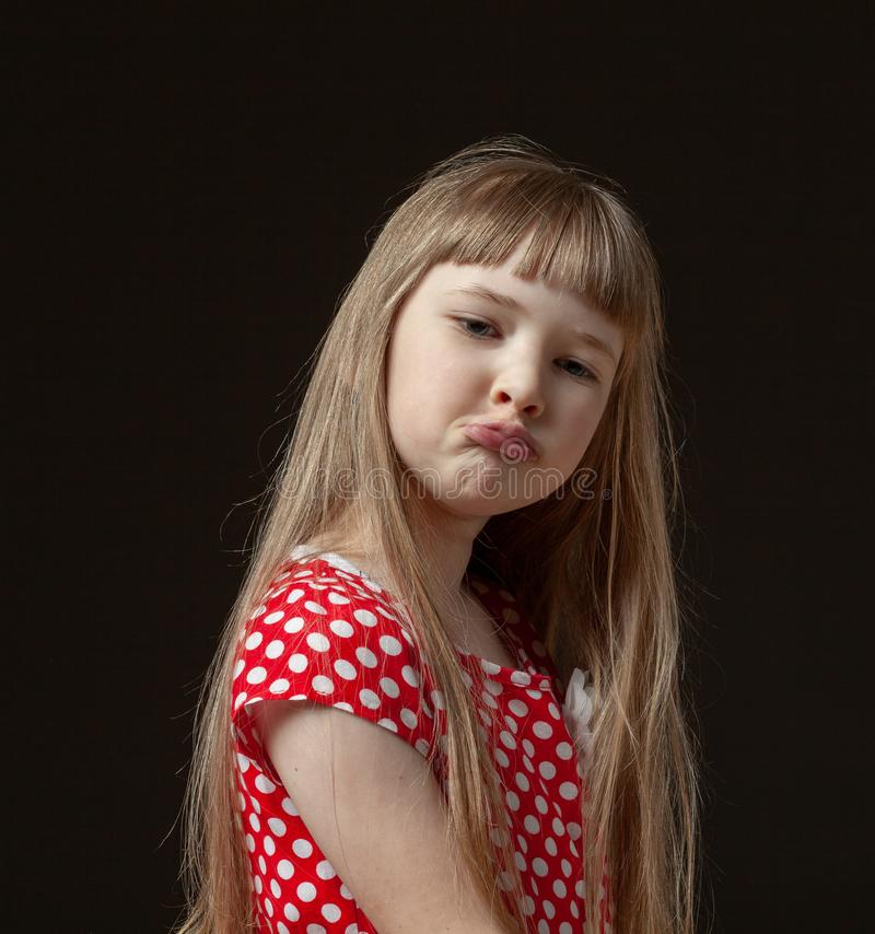 Portrait of little girl with beautiful long hair stock image