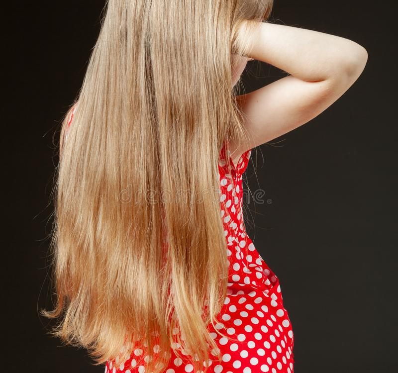 Portrait of little girl with beautiful long hair stock photos