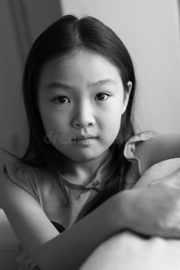 Portrait of little girl in black and white royalty free stock images