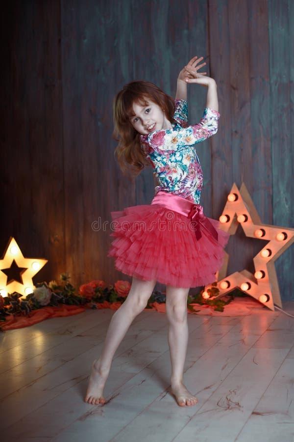 Portrait of little girl  dance star stock photo