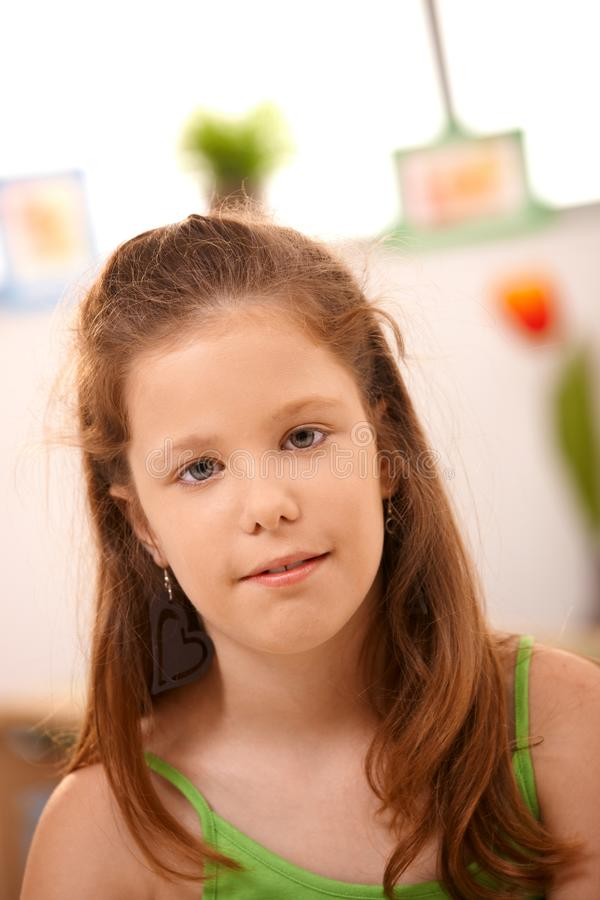 Portrait of little girl at home stock image