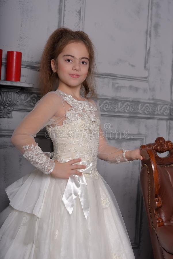 Portrait of little girl in luxurious dress royalty free stock images