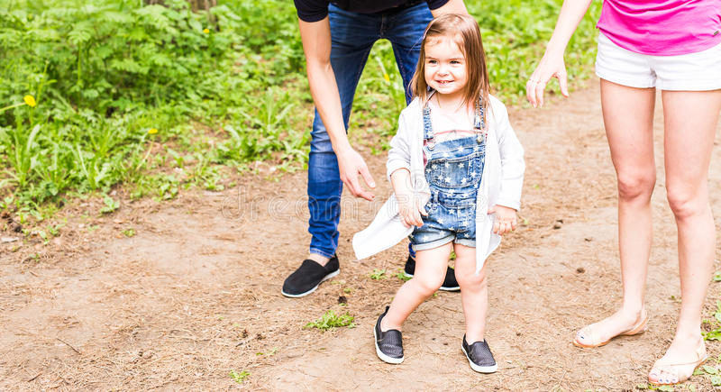 Portrait of little girl outdoors in summer stock photography