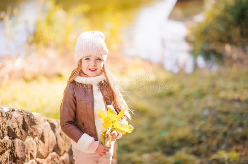 Funny portrait of a little girl. Little girl in a pink hat on a walk in the fall. Child girl in a jacket happily runs and collects stock images
