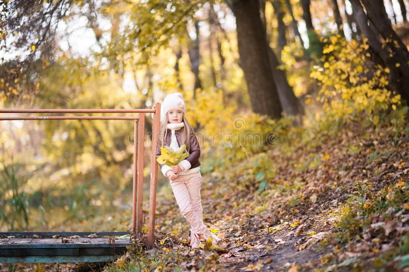 Funny portrait of a little girl. Little girl in a pink hat on a walk in the fall. Child girl in a jacket happily runs and collects royalty free stock photos