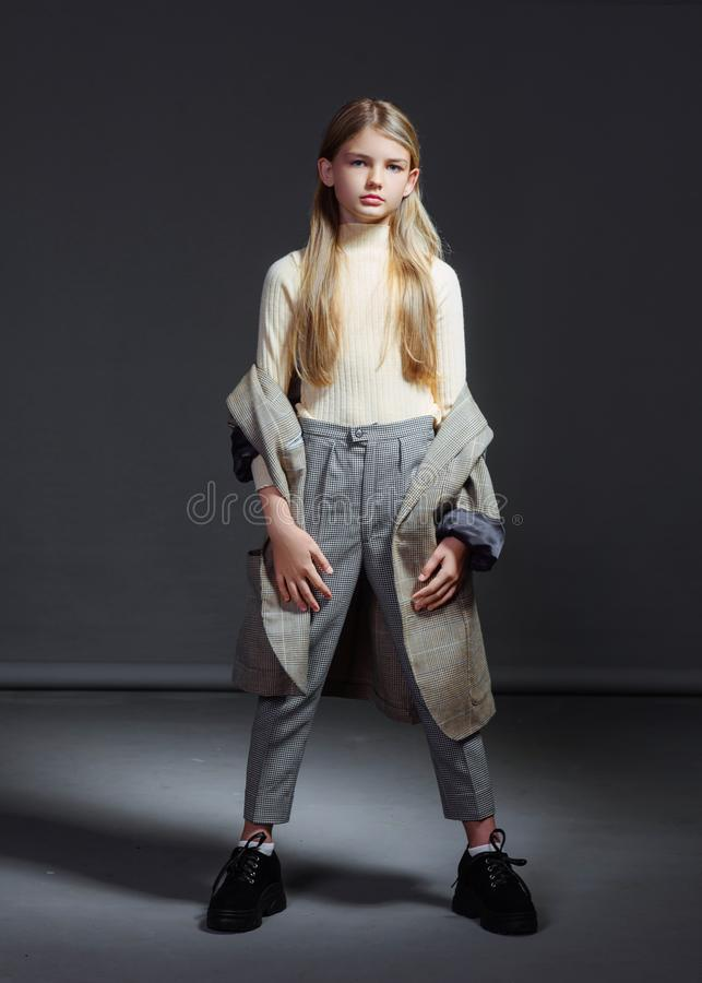 Portrait of little model girl. In studio royalty free stock photography