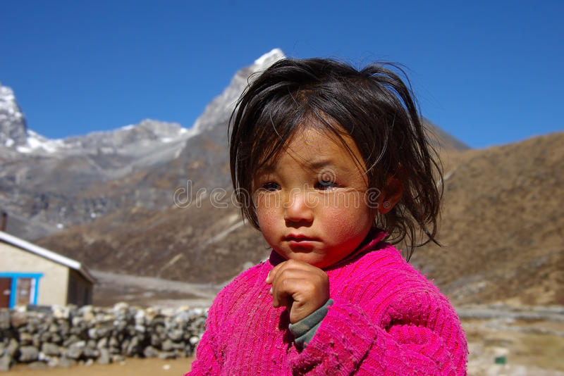 Portrait of little nepalese girl royalty free stock image