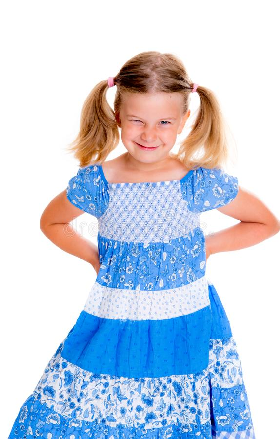 Little bold pertly with pigtails stock images