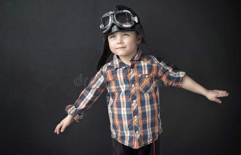 Portrait of a little pilot stock photography