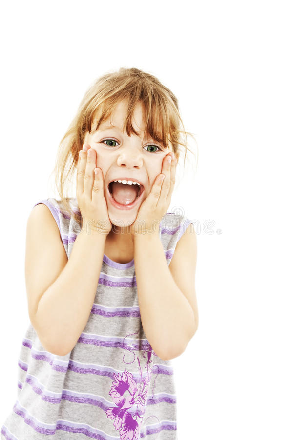 Portrait Of Little Surprised Girl Excited Scared Stock Photography