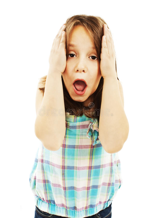Portrait Of Little Surprised Girl Excited Scared Stock Photo