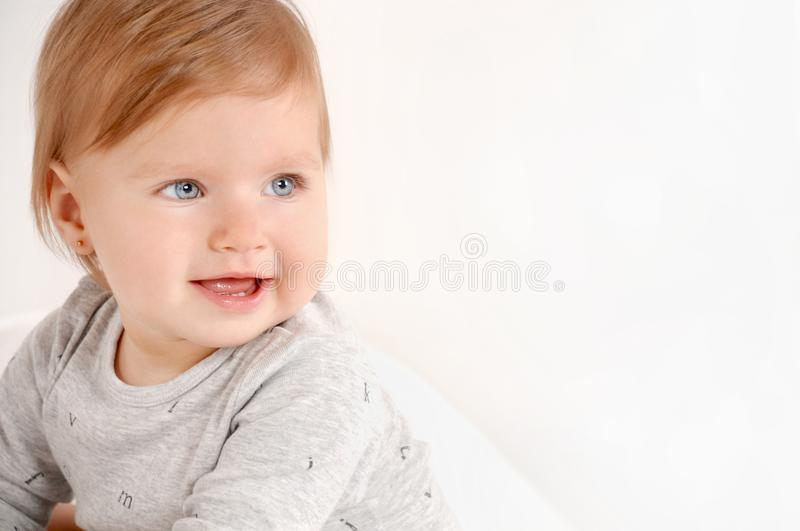 Portrait of a little sweet girl at home royalty free stock photos