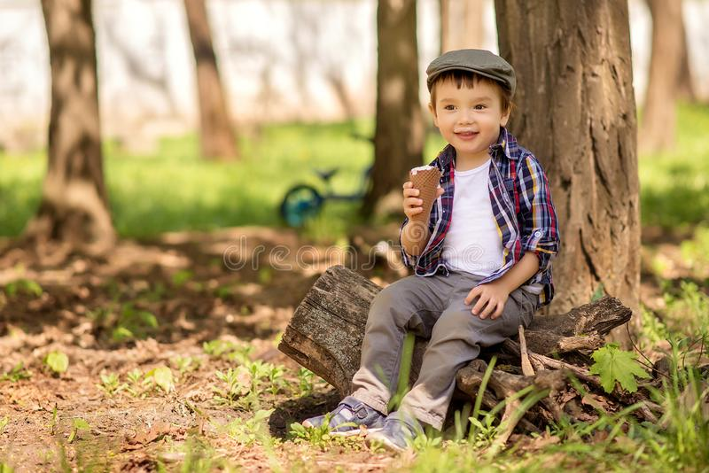 Portrait of a little toddler boy sitting under tree in the park on tree stomp and eating big ice-cream. The kid has milk moustache stock photography
