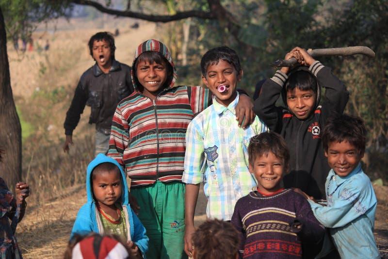 Portrait of little vagabond kids. Homeless kids. stock image