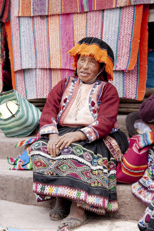 Portrait of local market seller in Urubamba, Peru. Portrait of local market seller in Peru royalty free stock photography