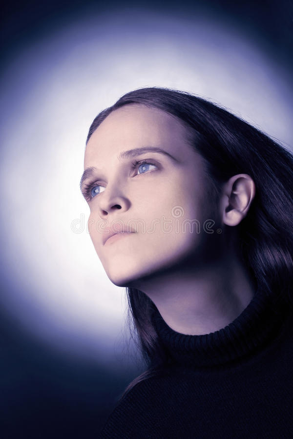 Download Portrait Of Looking Dreamy Woman. Stock Image - Image: 21364795