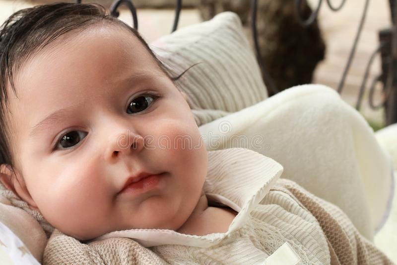 Portrait of a lovely baby stock photo