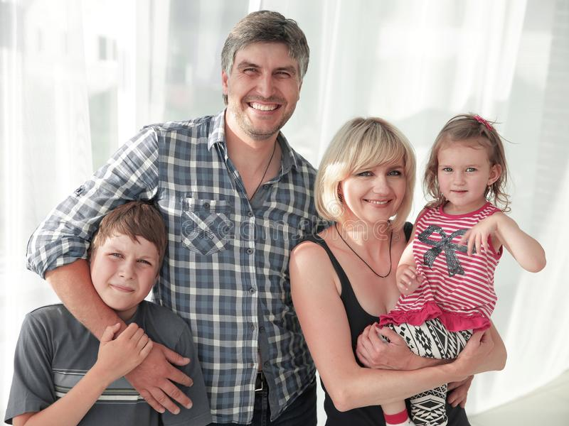 Portrait of a lovely family stock image