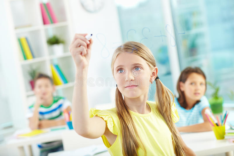 Doing sums royalty free stock photos