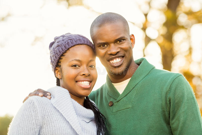 Portrait of a lovely smiling young couple stock image