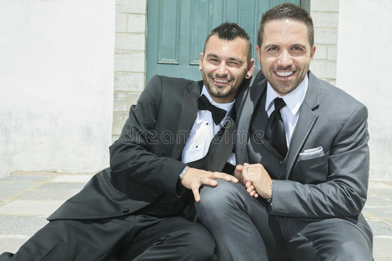Portrait of a loving gay male couple on their royalty free stock photos