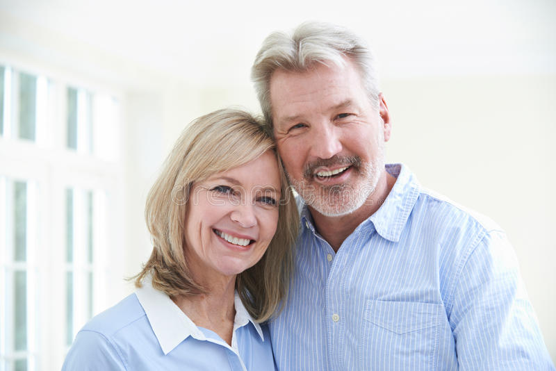 Portrait Of Loving Mature Couple At Home stock image