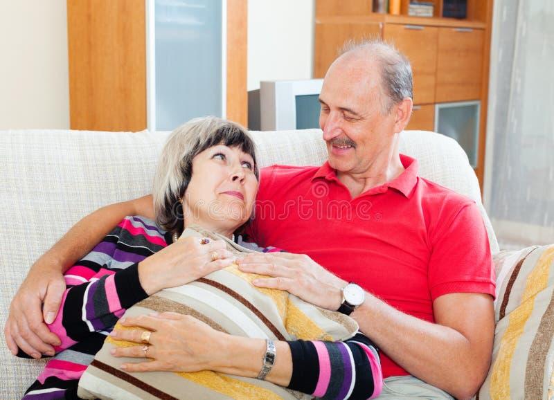 Portrait of loving ordinary mature couple stock photo