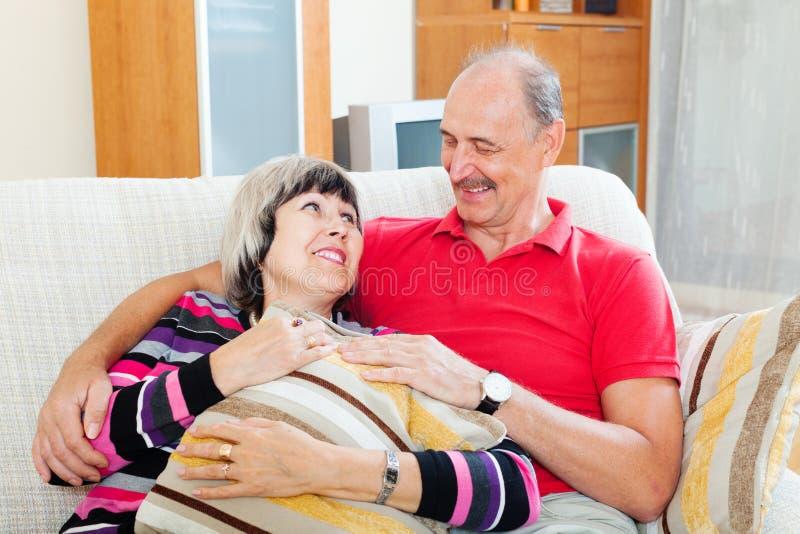 Portrait of loving ordinary mature couple royalty free stock image