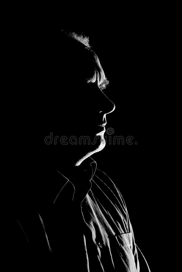 Download Portrait (low Key, Face Outline) Of A Man. Stock Image - Image: 22615429