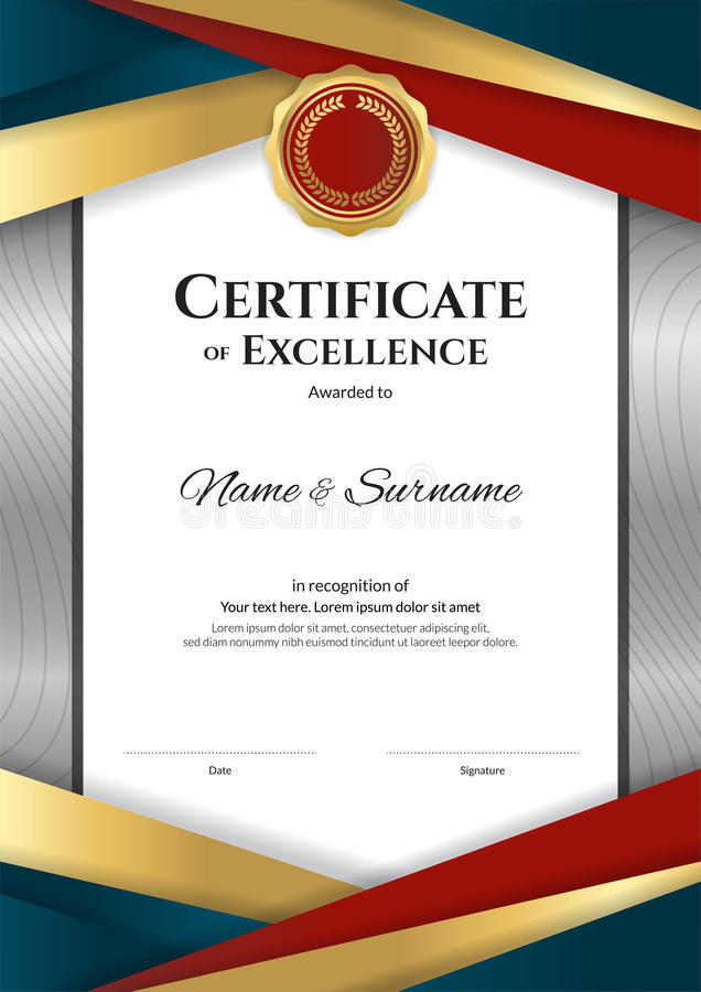 portrait luxury certificate template with elegant border