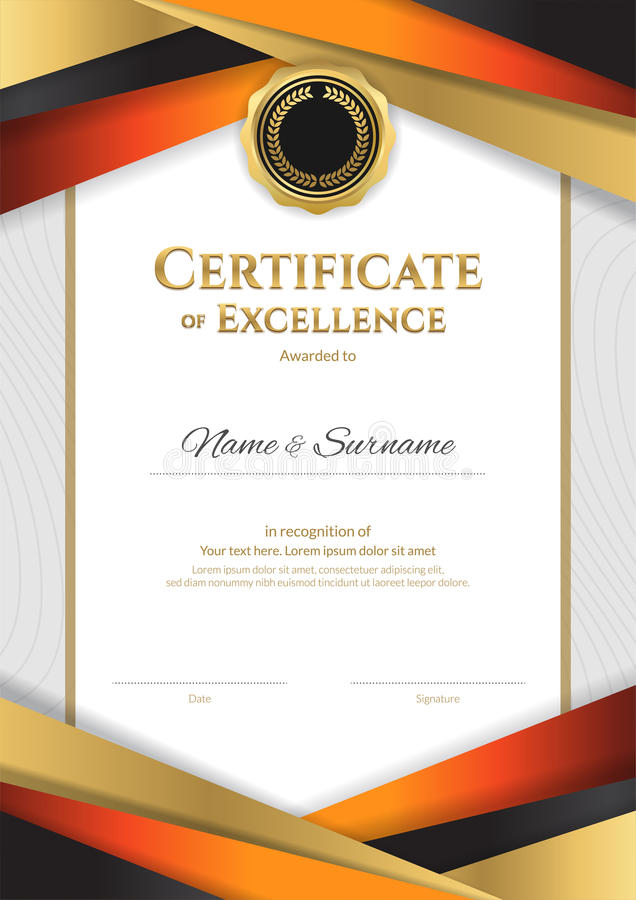 Portrait luxury certificate template with elegant golden border download portrait luxury certificate template with elegant golden border stock vector illustration of appreciation yadclub Choice Image