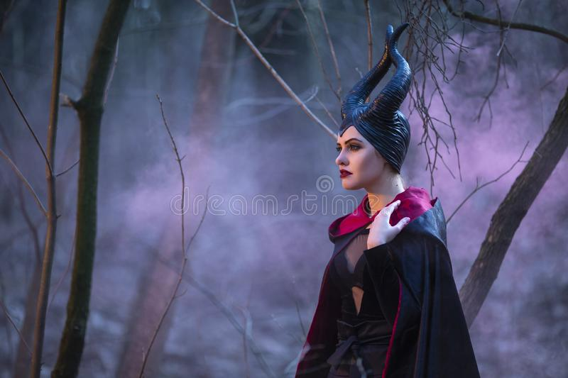 Portrait of Magical Maleficent Woman with Horns Posing in Spring Empty Forest with Smoky Background. Horizontal Shot stock images