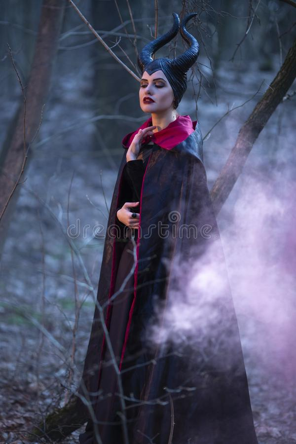 Portrait of Magical Maleficent Woman with Horns Posing in Spring Empty Forest with Smoky Background. Vertical Image stock photography